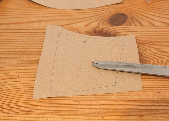 push up innentasche papierschnitt schnittteile mit nahtzugabe