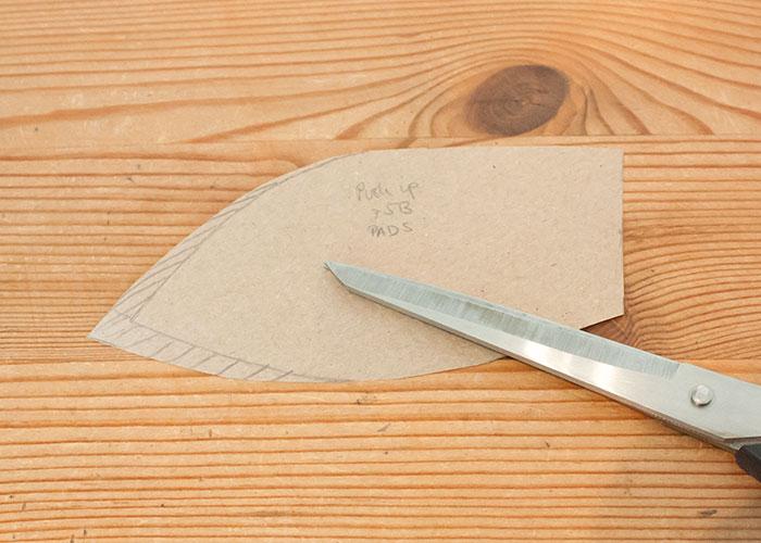 push up kissen papierschnitt schnittteil korrigieren