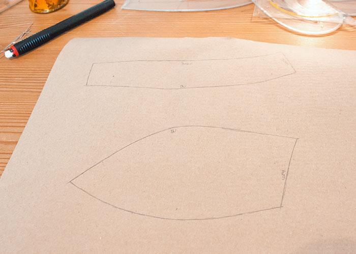 push up innentasche papierschnitt schnittteile kopiert